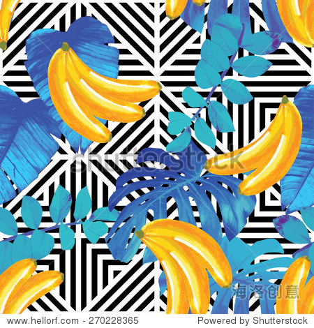 tropical fruits and palm leaves pattern  geometric background
