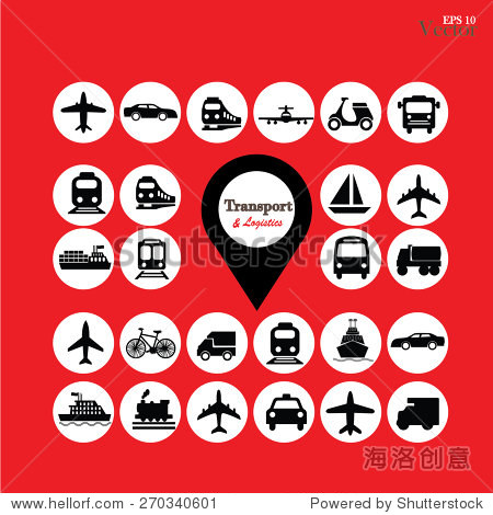 map pointer with transportation icon.vector illustration.