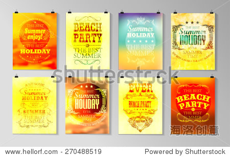 Typographical poster  retro design. Elements for Summer Holidays with colorful background. Calligraphic designs and ornaments