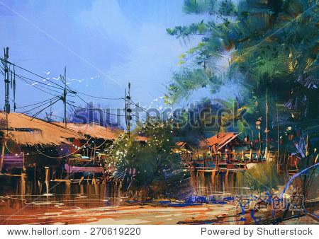 old fishing village oil painting style illustration