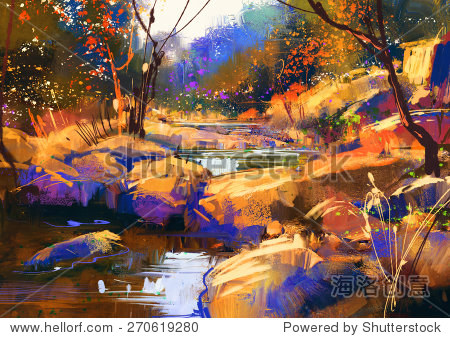 beautiful fall river lines with colorful stones in autumn forest digital painting illustration