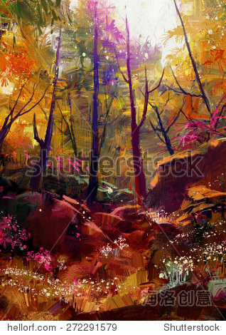 landscape painting of beautiful autumn forest with sunlight illustration