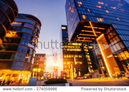 night city Dusseldorf. hotel Hyatt.Germany. Natural blurred background. Soft light effect.