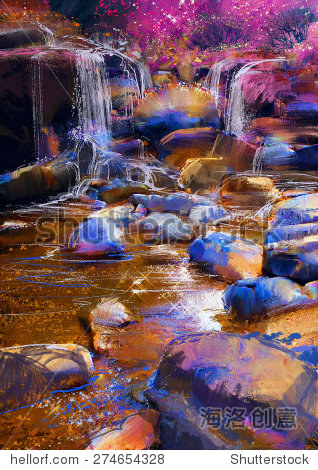painting of beautiful river amongst colorful stones waterfall illustration