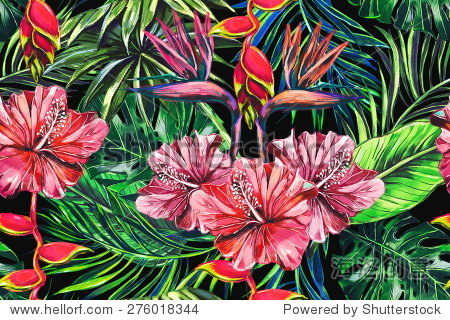 Beautiful trendy seamless floral jungle pattern background. Colorful watercolor tropical flowers  palm leaves and plants  hibiscus  bird of paradise flower  exotic print