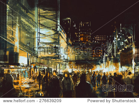 painting of shopping street city with colorful nightlife illustration