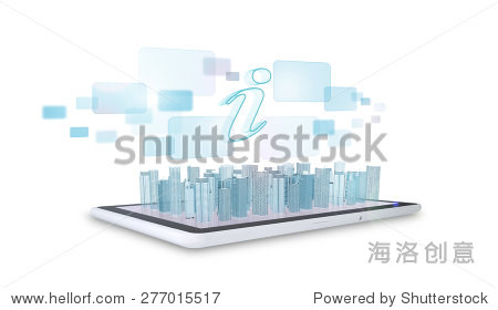 Tablet with virtual cityscape with holographic screen on isolated white background