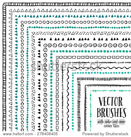 Hand drawn decorative vector brushes with inner and outer corner tiles. Dividers  borders  ornaments. Ink illustration.