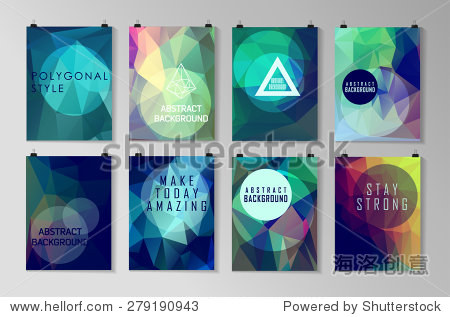 Set of poster  flyer  brochure design templates. Abstract modern polygonal backgrounds.