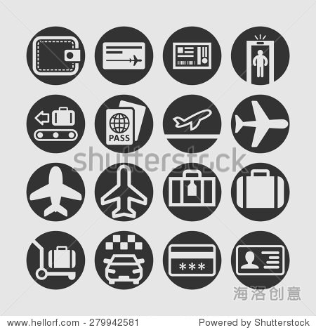 Airport vector icon set