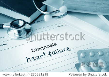 Diagnostic form with diagnosis heart failure and pills.