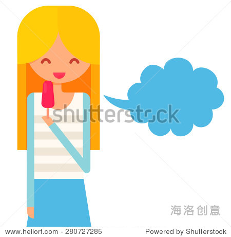Smiling  girl with blonde hair eats icecream and talk via speech bubble.  flat vector illustration with cute character.