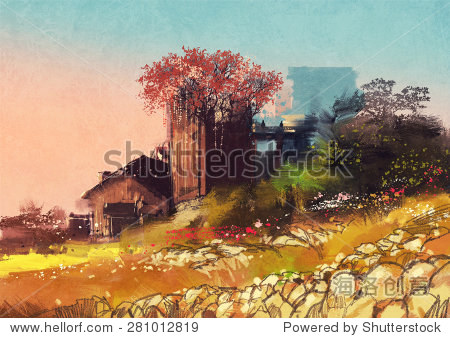 painting of farm house on the country side illustration