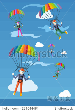 Happy peoples plans with parachute. Group of happy parachutists descend from the sky on parachutes fly between the clouds. Marketing and promotional materials  presentation templates. Raster version