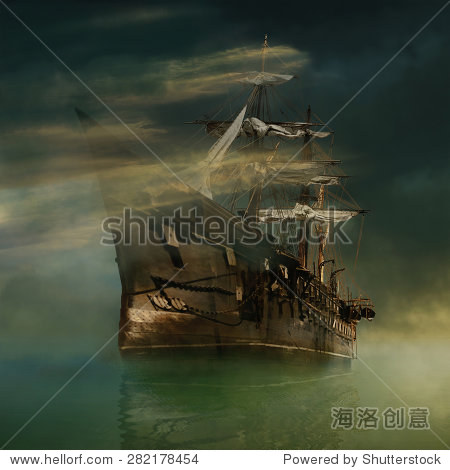 A phantasmagorical old ship sailing in calm waters