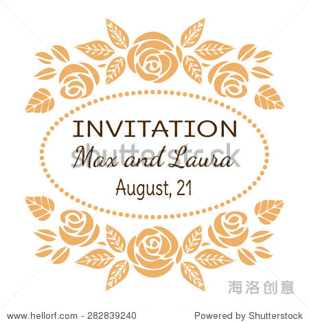 Vintage Wedding Invitation Card with text. Elegant Floral Frame with Beautiful Roses. Vector Illustration