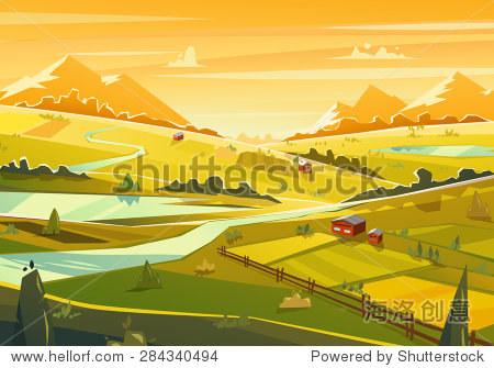 Rural landscape. Vector design illustration for web design development  natural landscape graphics.