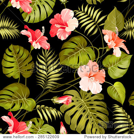 Seamless tropical flower. Blossom flowers for seamless pattern background. Vector illustration.
