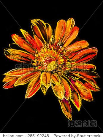 Original pastel painting on cardboard.Modern painting of a orange flower