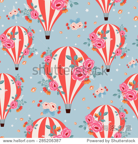 Vintage seamless pattern with flying floral balloons (vector seamless pattern)
