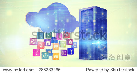 Digitally generated black and blue matrix against composite image of cloud with apps