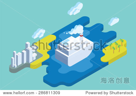 Ocean Cruise Summer Vacation. Flat Isometric Art. Travel Vector Illustration.