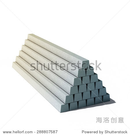 3d illustration of pile of concrete items isolated on white background