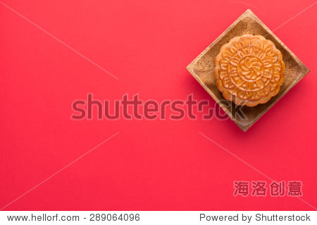 Moon cakes for the Chinese Mid-autumn festival.  angle view from above