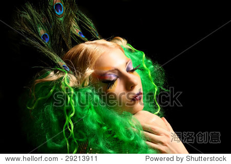 girl-peacock with green hairs