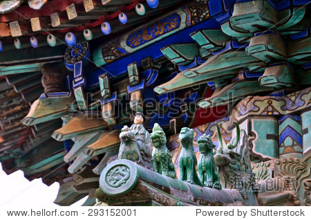 Carvings on the painted Chinese roof