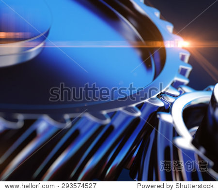 3d illustration of close up gears with depth of field effects
