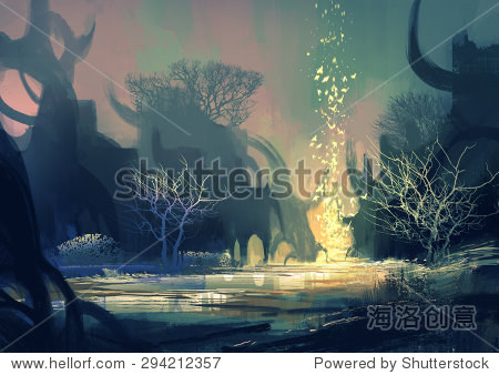 painting of fantasy landscape with mysterious trees illustration