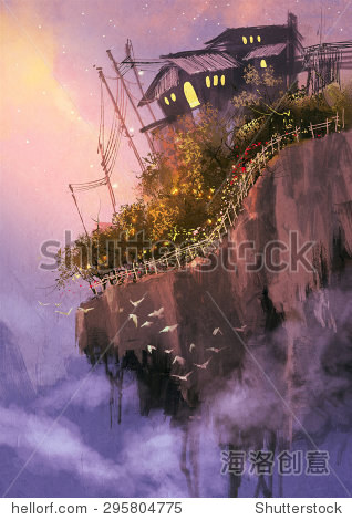 fantasy scenery with floating islands in the sky digital painting
