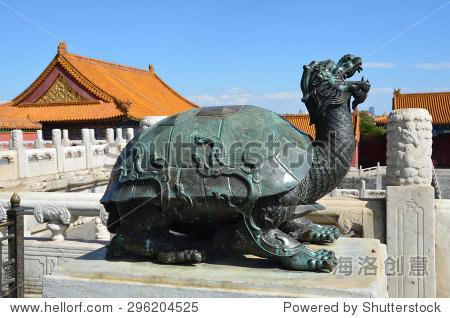 Beijing, China, October, 10, 2012. Sacred turtle in the Forbidden city Gugong in Beijing