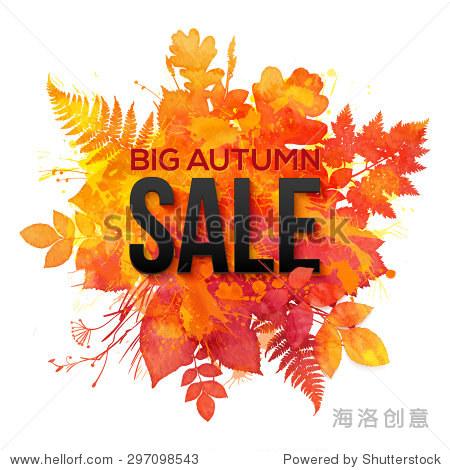 Watercolor autumn foliage vector sale banner