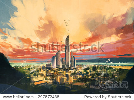 digital painting of futuristic sci-fi city with skyscraper at sunset illustration