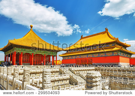 BEIJING, CHINA - MAY 18, 2015: People, tourists walking on the territory of the Forbidden City, palaces, pagodas inside the territory  - the most visited attraction in Beijing and all over China..