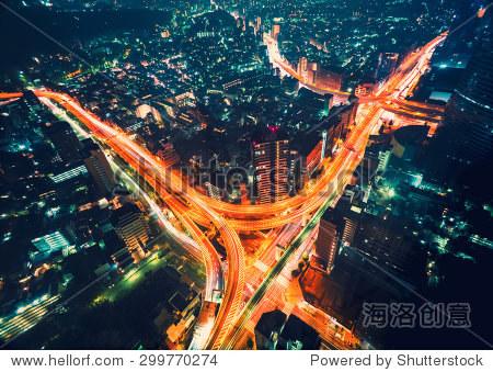 Aerial view cityscape at night in Shinjuku  Tokyo  Japan