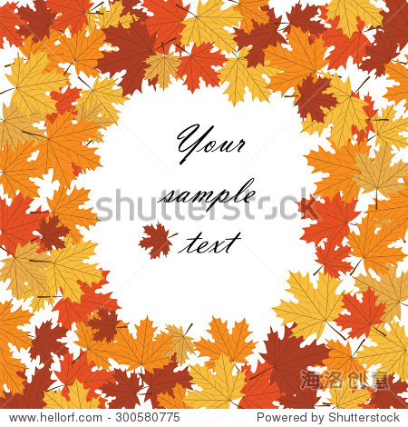 Autumn background with maple leaves text in center. Vector