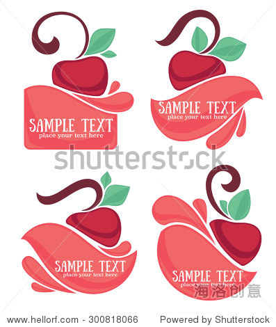 vector collection of juice stickers and cherry symbols for your text