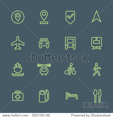 light green outline various map navigation set dark background