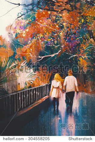 lover couple walking holding hands in autumn park illustration painting