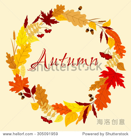 Colorful autumn frame with leaves  herb spikelets  oak acorns and bunches of viburnum fruits