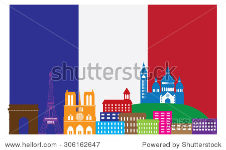 Paris France City Skyline Outline Silhouette in Flag of France Color Isolated on White Background Panorama Vector Illustration
