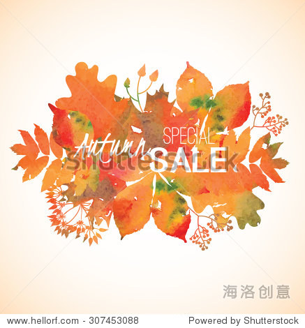 Watercolor yellow  orange  red  green  golden foliage for banner  label  shop tag  seasonal discount  autumn sale  offer  poster  web  promotion Vector illustration eps 10