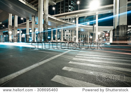 City road viaduct streetscape of night scene