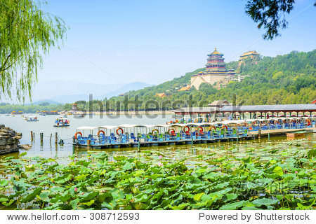 Landscape of Summer Palace. In the distance is Tower of Buddhist Incense. Located in The Summer Palace, Beijing, China.