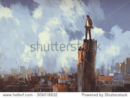 illustration painting of businessman stands on the peak looking at city