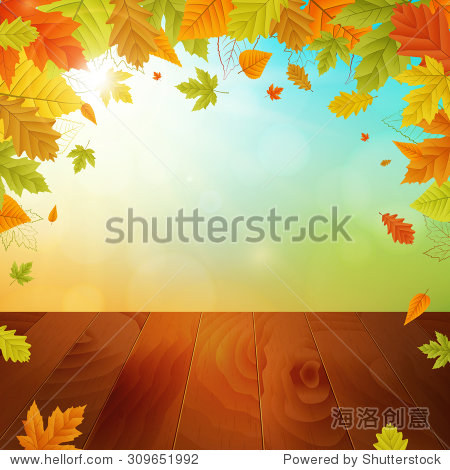 autumn vector background with colored leafs and wooden board. isolated.