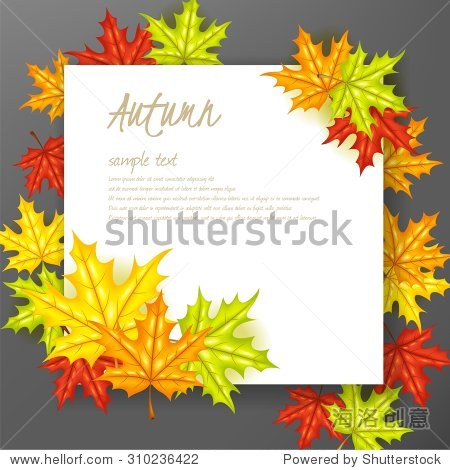 Autumn leafs background with paper sign